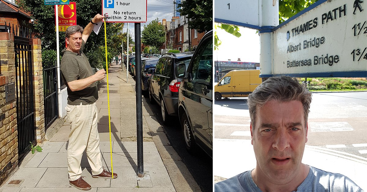 Man who banged his head on a street sign is now measuring them to save others