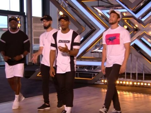 X Factor's Nicole Scherzinger wowed by four lads from Watford with their original song I'm Feeling You