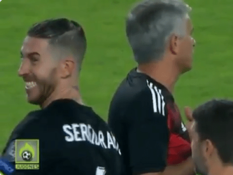 Sergio Ramos laughs at Jose Mourinho for arguing with referees after UEFA Super Cup