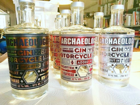 Someone's created a gin mixed with vintage Harley Davidson motorbike parts