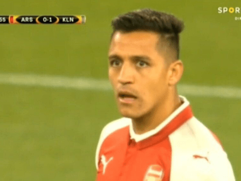 Arsenal's Alexis Sanchez looks stunned by shocking first half vs Cologne