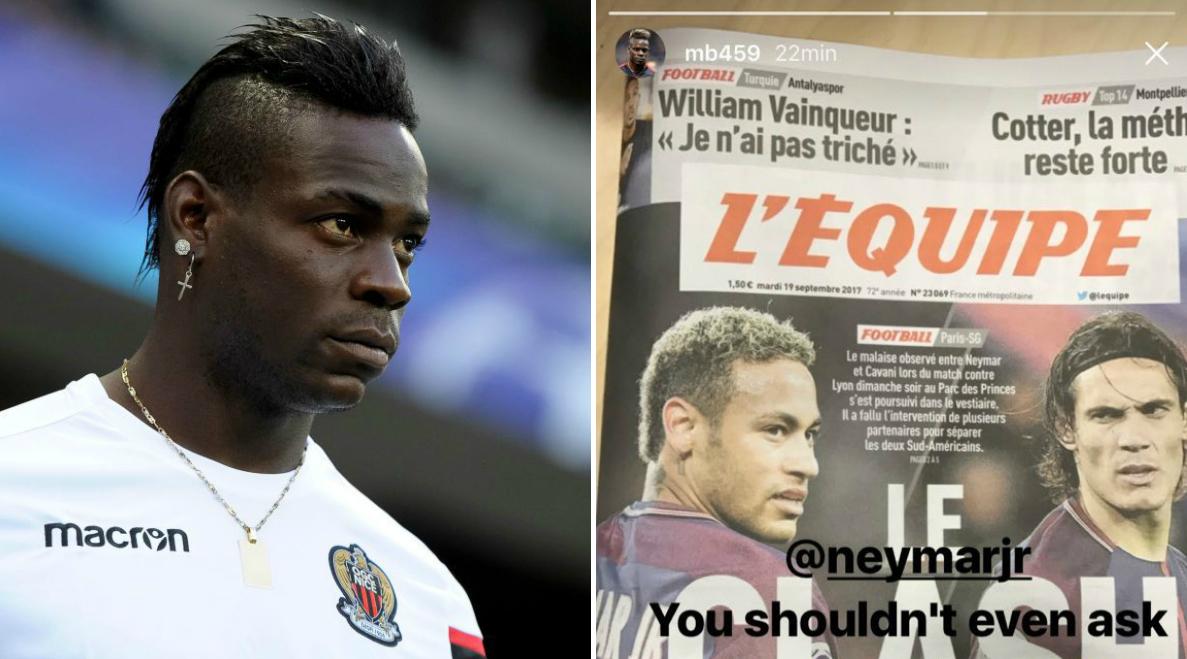Mario Balotelli takes sides in Neymar vs Edinson Cavani penalty bust-up drama