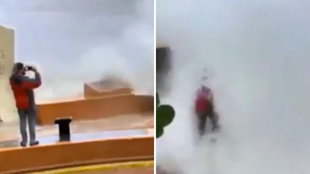 Man flattened as he tries to film giant waves during Hurricane Irma