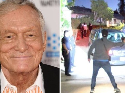 Hugh Hefner leaves the Playboy Mansion for the last time as his body is removed