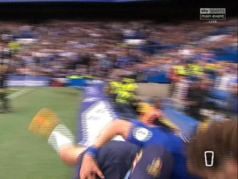 Alexandre Lacazette shows his class after David Luiz tumbles into ballboy during Chelsea v Arsenal
