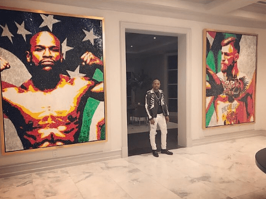 Floyd Mayweather hangs epic artwork in his home in tribute to Conor McGregor super-fight