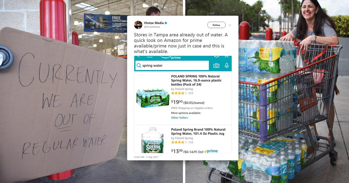 Amazon 'pushes up price of water before Hurricane Irma approaches'