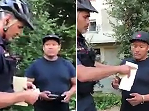 Police officer caught rummaging through hot dog vendor's wallet and taking money