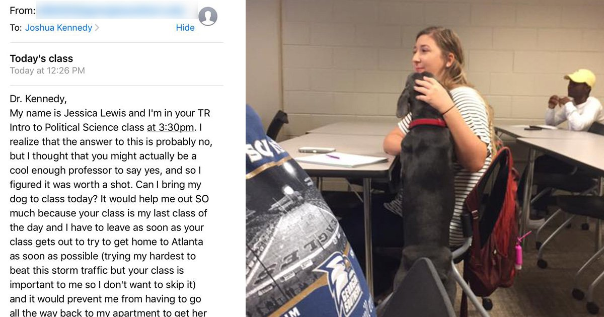 Professor gives brilliant response to student asking to bring her dog along to class