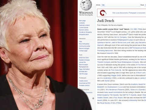 Someone edited Dame Judi Dench's Wikipedia page to name her as a grime artist