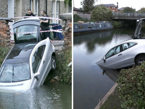 Driver crashes through wall at 80mph and into Thames then wanders off