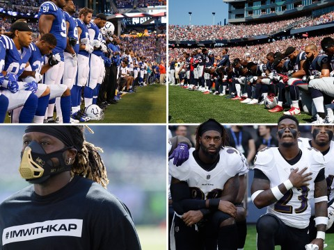 American football stands up to Trump with kneeling protests during national anthem
