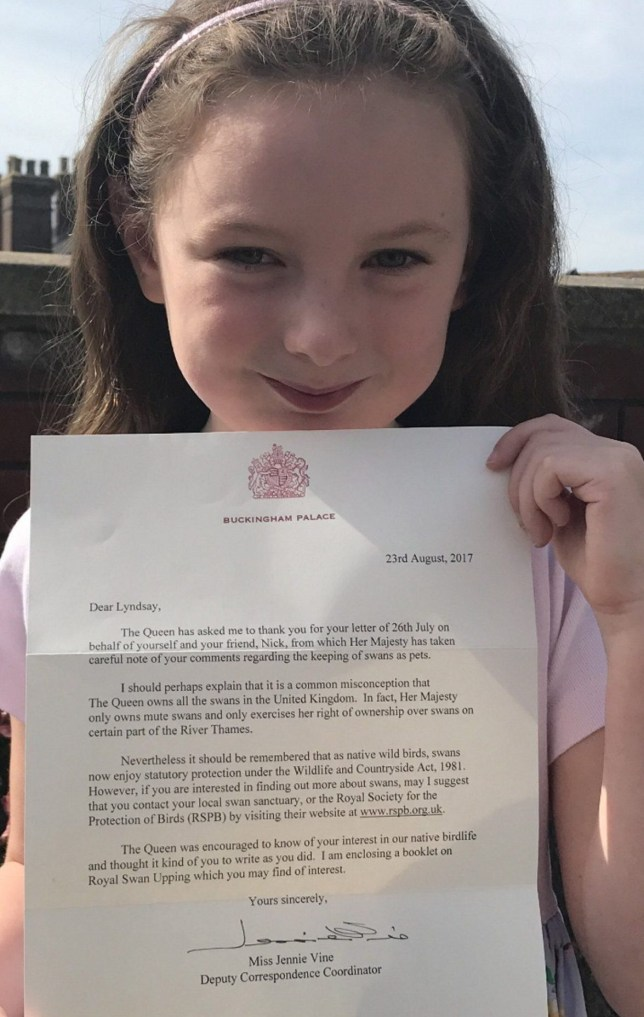 Queen replies to 5-year-old girl who asked to look after a