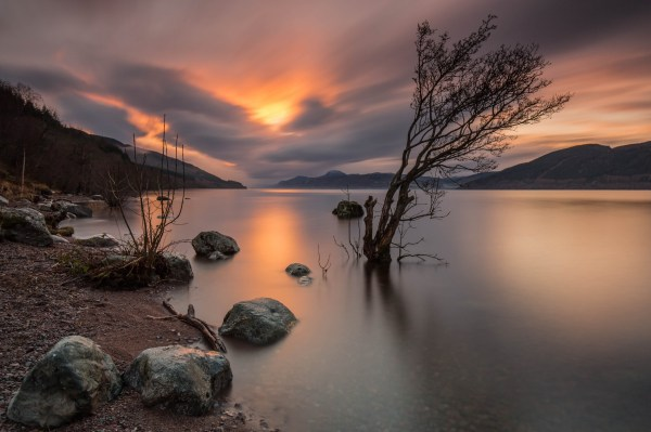 Night time scene of Loch Ness in the highlands of Scotland