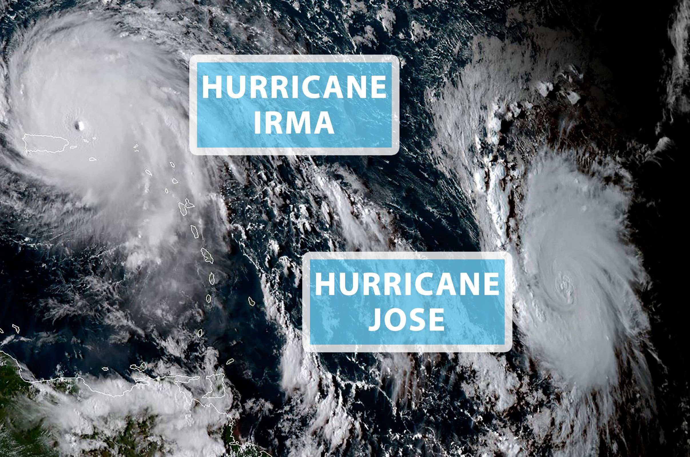 Jose officially upgraded to hurricane status as Irma batters the Caribbean