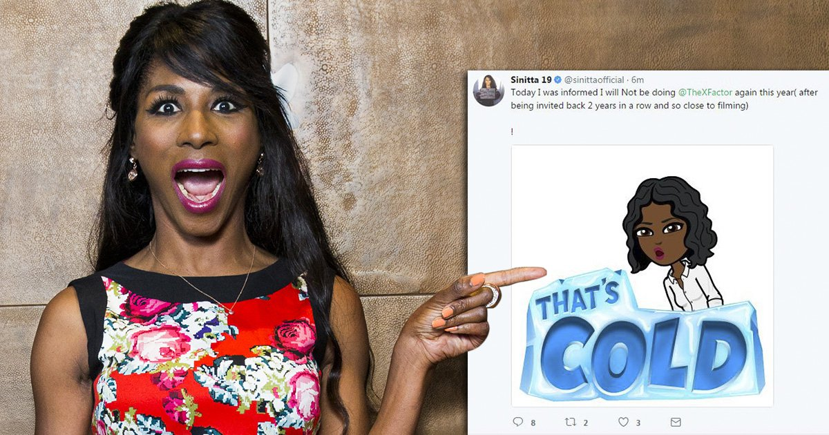 Sinitta has been snubbed from X Factor judges houses and she isn't happy