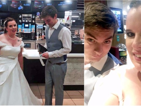 Bride fulfils life-long dream of visiting McDonald's on her wedding day