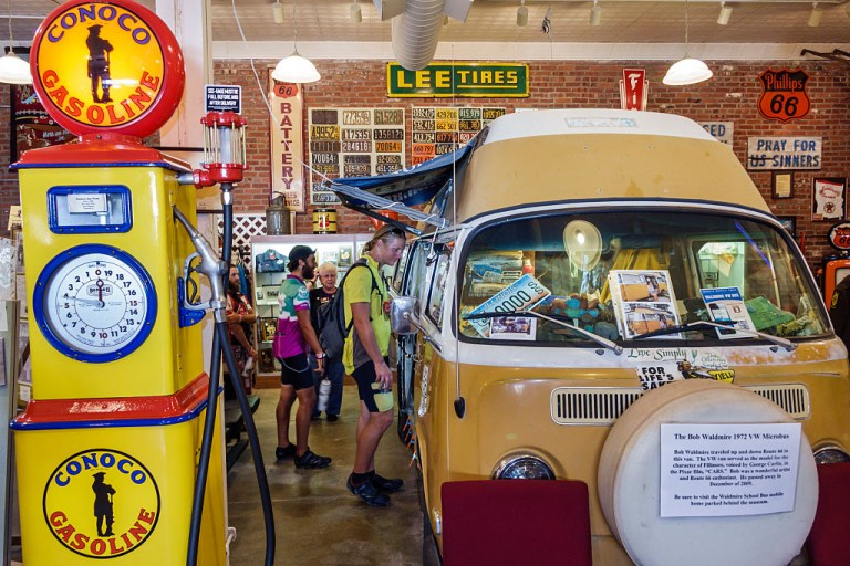 Historic Route 66 Association Hall of Fame & and Museum exhibit of Bob Waldmire 1972 VW Microbus camper