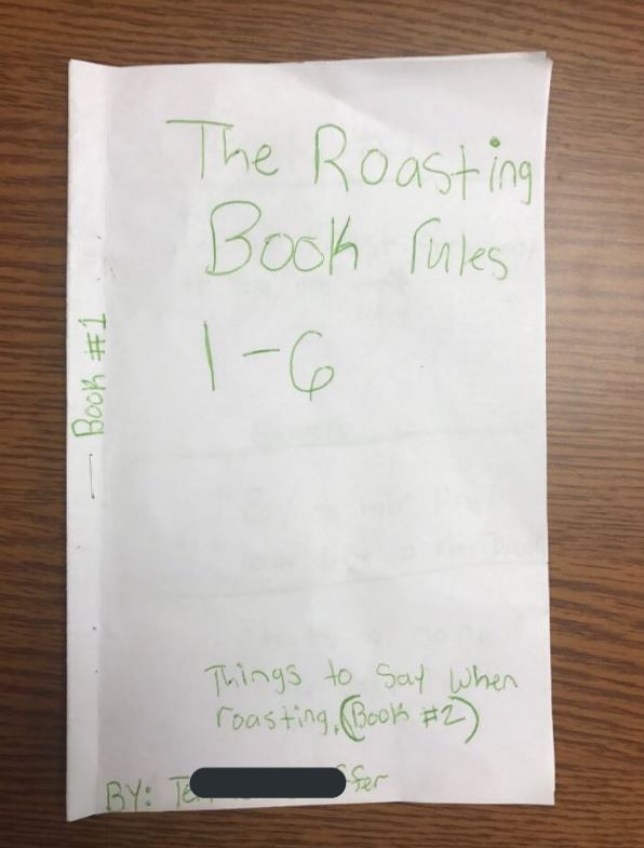 Teacher finds savage 'roasting book' with serious set of rules