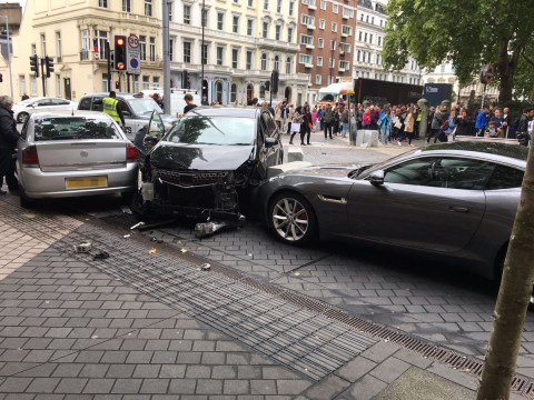 Pictured: The car used to hit pedestrians outside the Natural History Museum