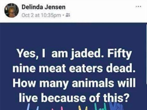 Vegan says she doesn't care about 'meat eaters' killed in Las Vegas