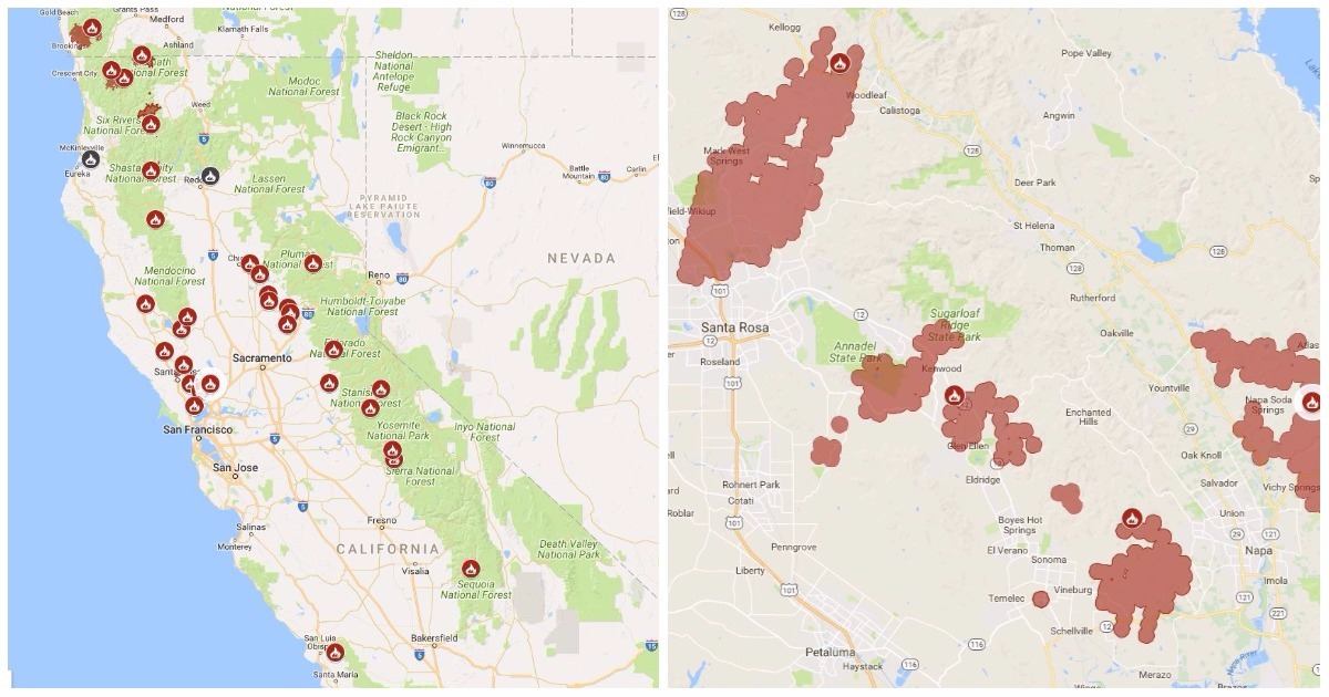 Fire Map Shows Scale Of Infernos Gripping California Metro News