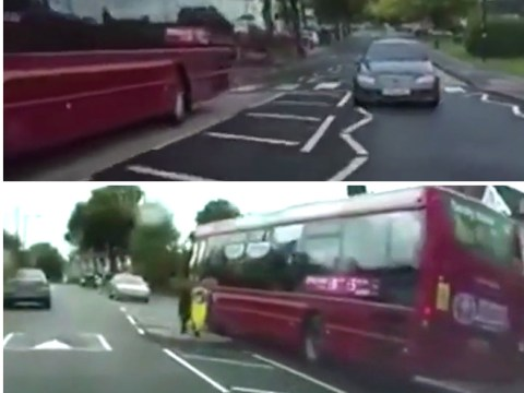 Bus driver just misses head-on collision while overtaking on wrong side of the road