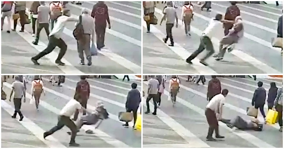 Pensioner pushed to the ground by complete stranger in unprovoked attack