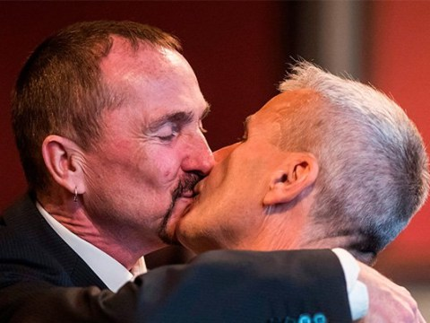 First same-sex couple to get married in Germany celebrate with a kiss