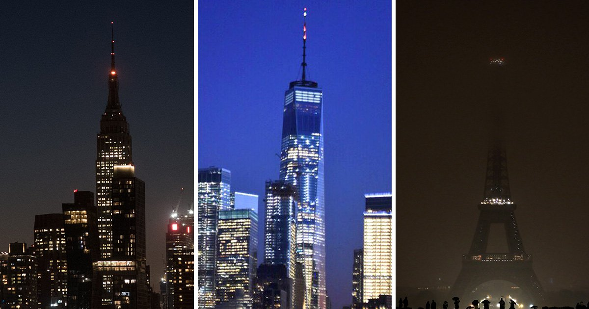 Eiffel Tower and Empire State Building go dark as world honours Las Vegas victims