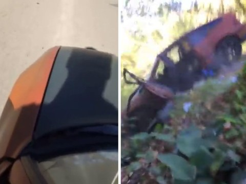 Man tries to Ollie a car with obvious and painful results