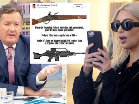 Kim Kardashian applauded by Piers Morgan for tweeting about gun control laws