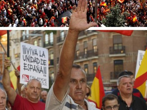 Protesters perform Nazi salutes during rallies over Catalan independence