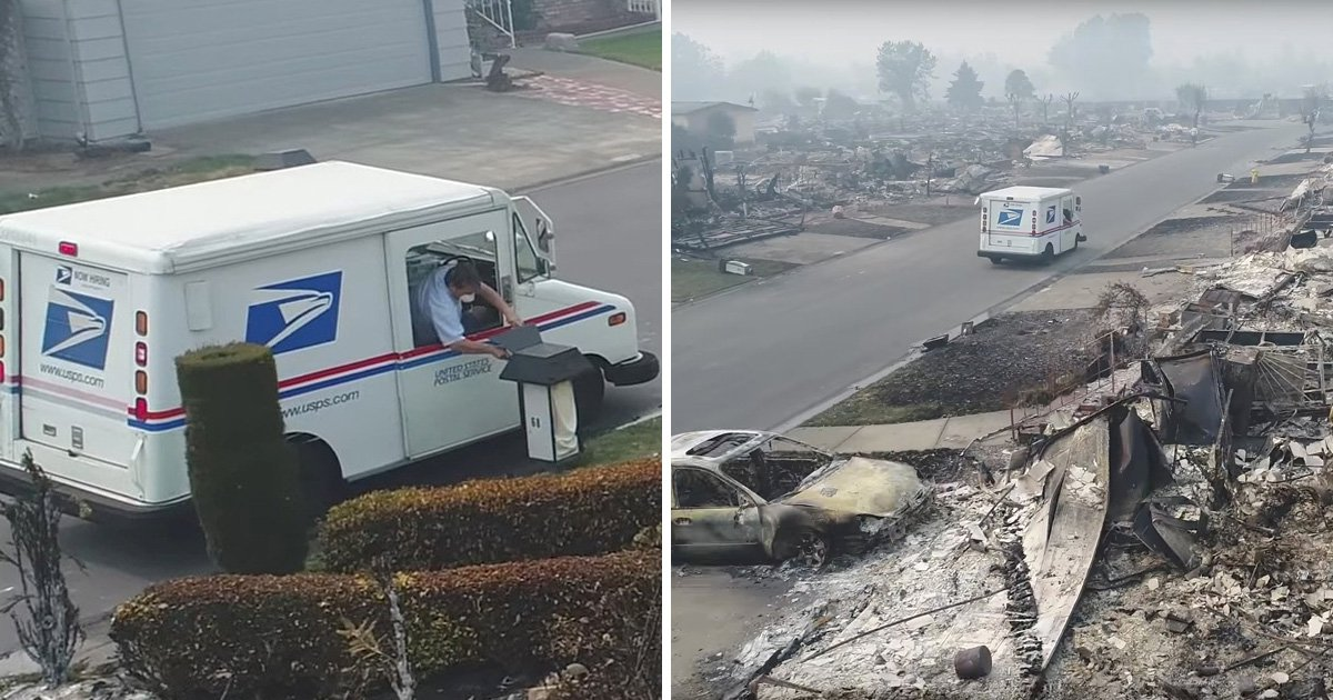 Dedicated postman continues to deliver parcels following California wildfires