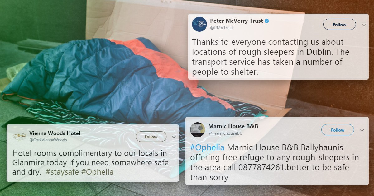 Good Samaritans open their doors to the homeless as ex-Hurricane Ophelia hits Ireland
