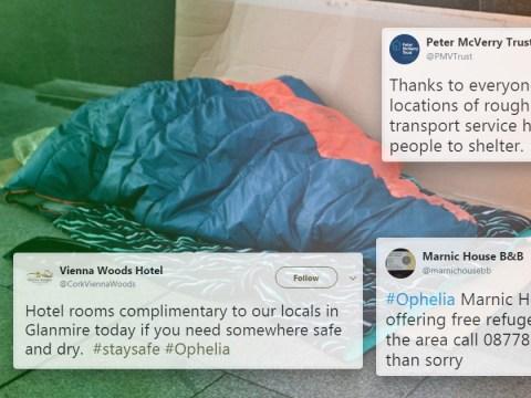 Good Samaritans open their doors to the homeless as ex-Hurricane Ophelia hits Ireland