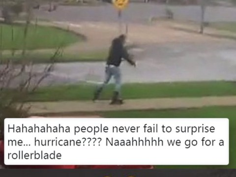 Man ignores 'risk to life' warning to go rollerblading during ex-Hurricane Ophelia
