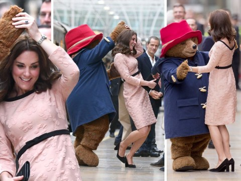 Kate struts her stuff with Paddington Bear