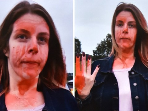 Mother left covered in red paint in road rage attack