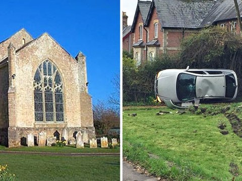 Gravestones destroyed after 'stolen' car crashes and flips over in cemetery