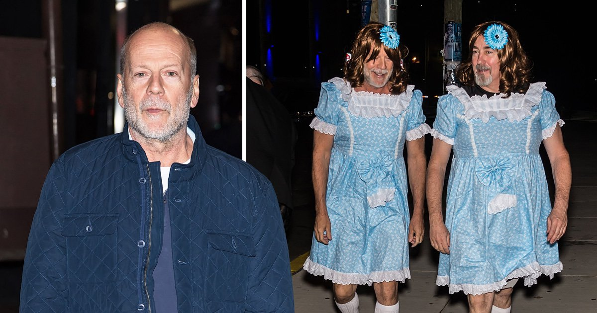 Bruce Willis and his assistant hilariously dress as The Shining's Grady twins for M. Night Shyamalan's Shyamaween party