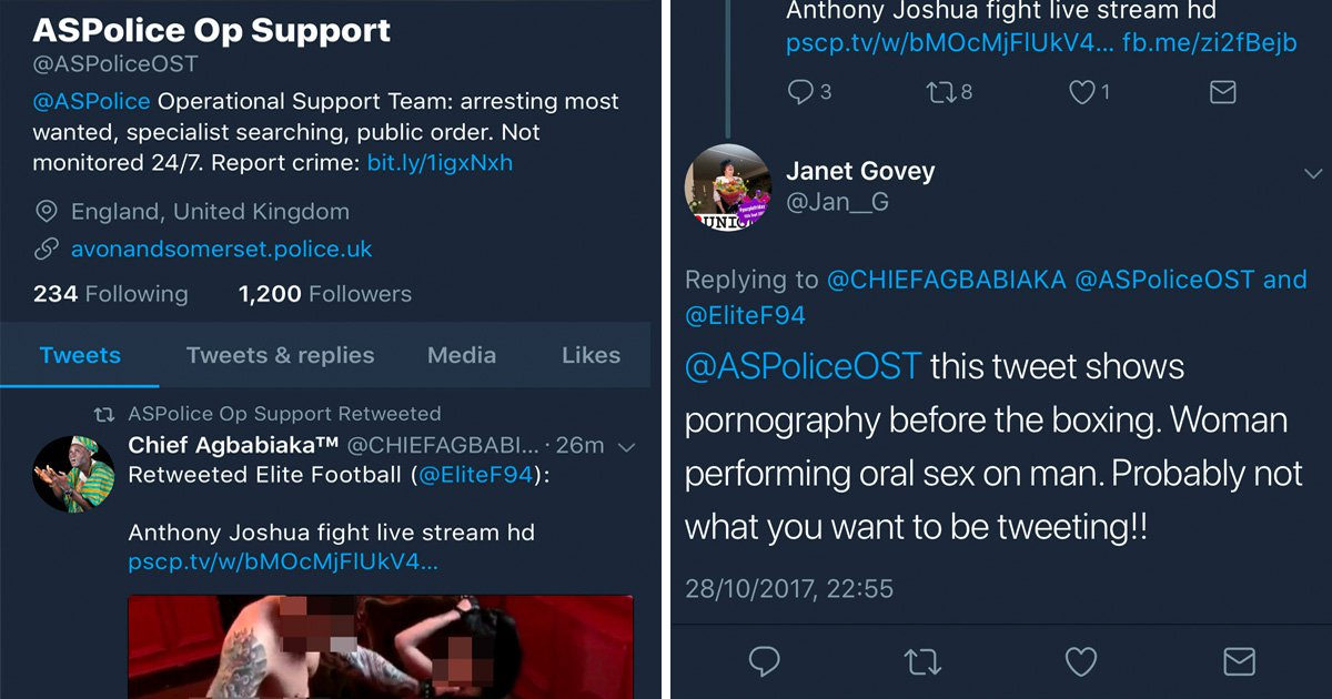 Police tweet illegal stream of Anthony Joshua fight – with hardcore porn between rounds