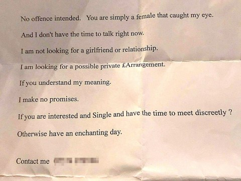 Man hands out creepy letters asking strangers for a 'private arrangement'
