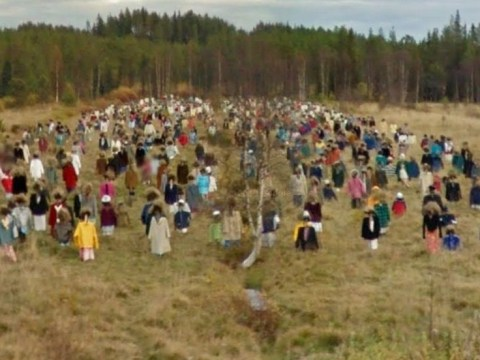 This army of scarecrows in Finland looks freaky as hell on Google Maps