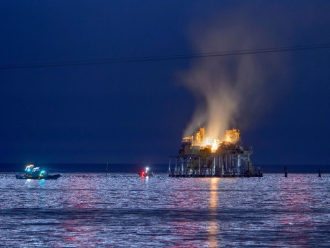 One missing and seven hurt after huge explosion at oil rig
