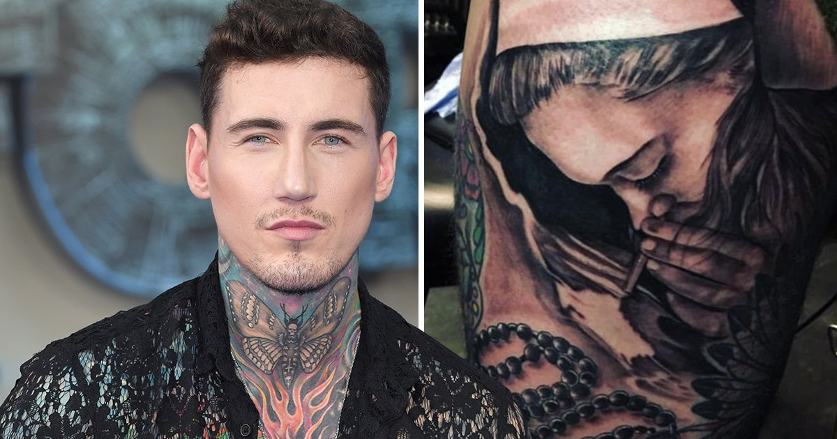 Jeremy McConnell gets a tattoo of a nun snorting white powder for some reason