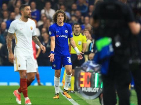 David Luiz rages at Alvaro Morata before being hauled off by Antonio Conte v Roma