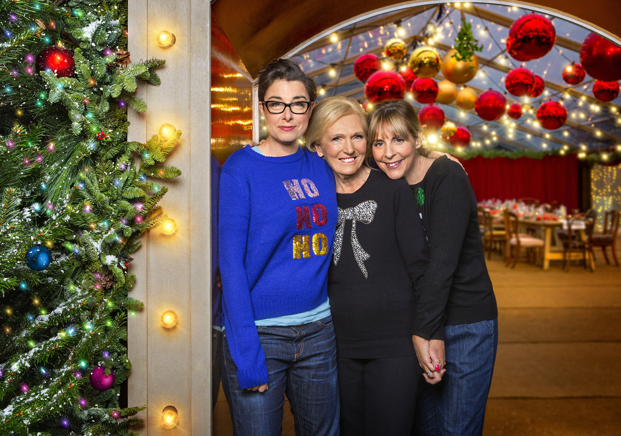 Mel and Sue don festive jumpers and reunite with Mary Berry as the BBC unveils its Christmas TV