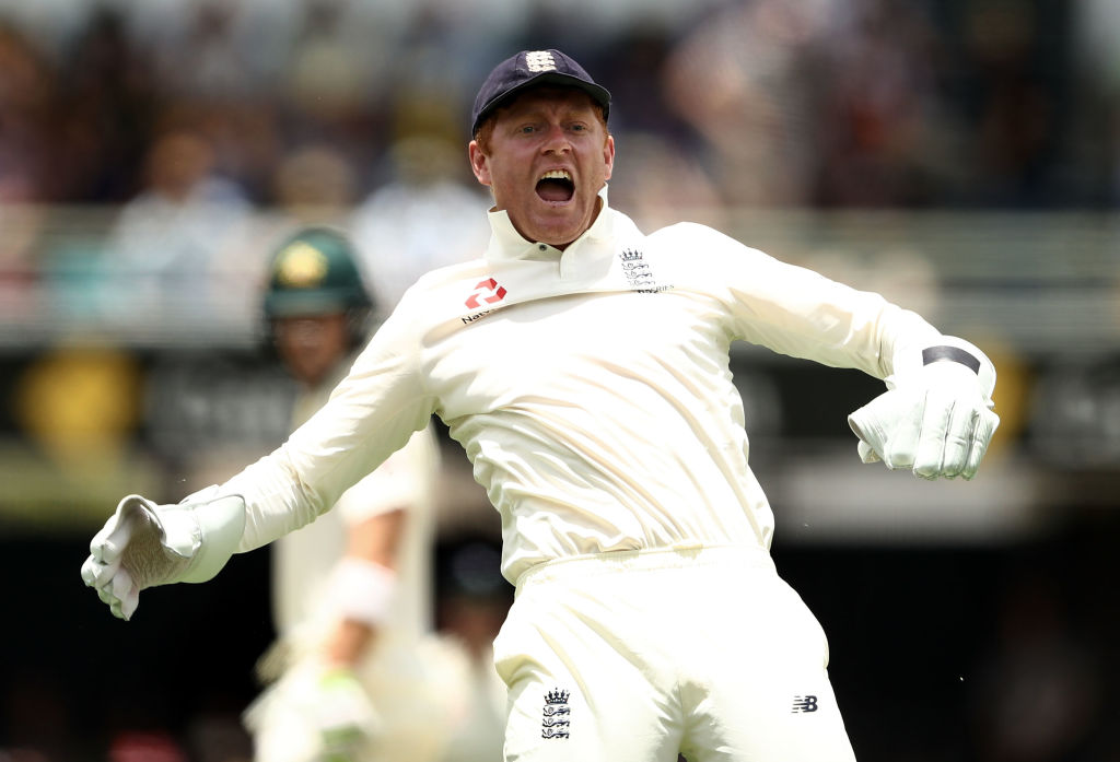 Ashes 2017: Jonny Bairstow takes superb one-handed catch as England bowler James Anderson dismisses Tim Paine