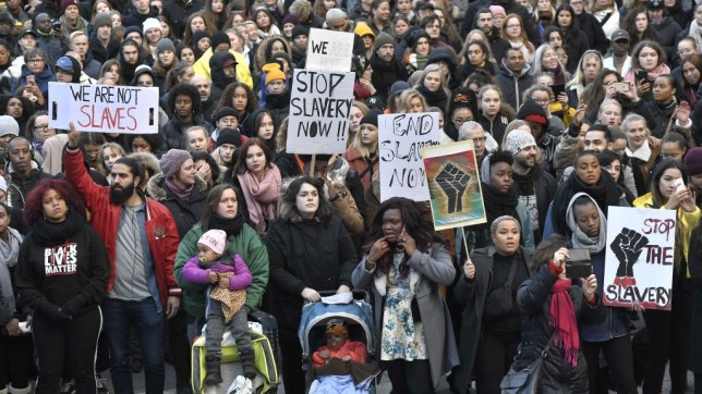 Protest in Sweden against slave auctions